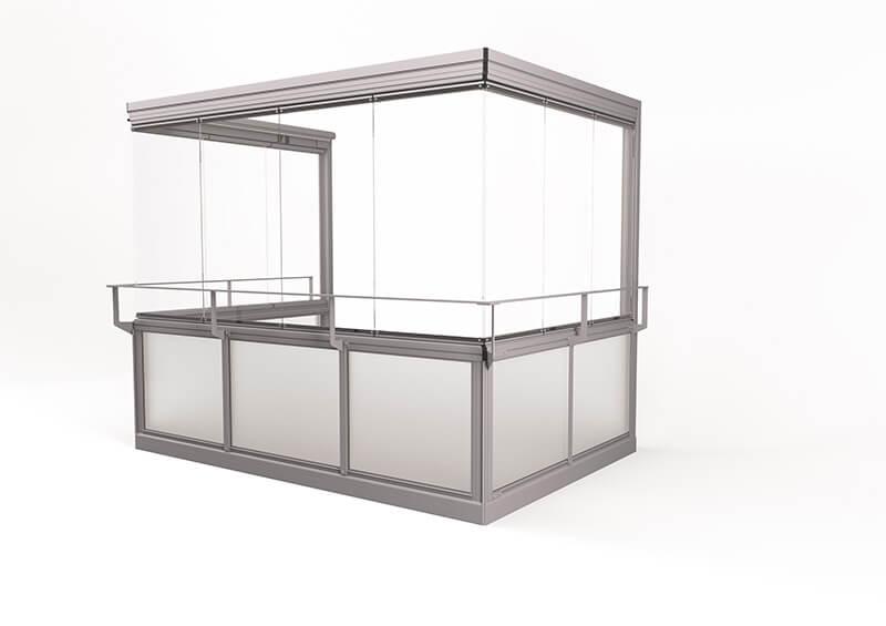 <span>Vision® Air</span> Innglassingssystem med store rammefrie luker, uten hjørnestolper.
